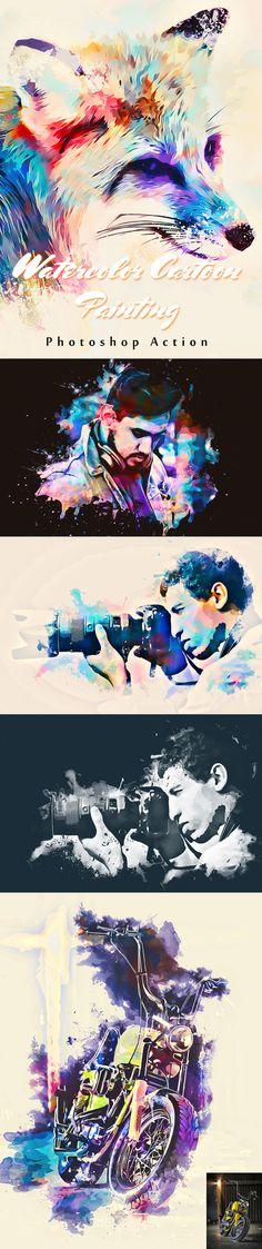 Watercolor Cartoon Painting Action #digitalphotography #photoeffect #photoshopactions #tutorials