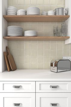 Create a rustic kitchen with our Artisan Rice Ceramic wall tiles