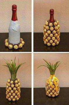 Cute bridesmaid gift idea - pineapple style wine bottle {Courtesy of Aloisia…