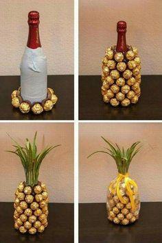 Cute idea! Pineapple Wine bottle gift
