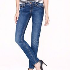 """J.Crew MatchStick Jeans First pic of model wearing similar style of Jeans. Last 3 pics are actual item/actual color. Jeans are made of 98% Cotton and 2% Spandex. Size 24 Short Waist. Dark Wash. Stretches. Straight Leg.  Inseam """"30.5. Laying flat """"12. Rise """"8. Length """"39.5. This item is NOT new, It is used and in Good condition. Authentic and from a Smoke And Pet free home. Ask any questions BEFORE purchase. Please use the Offer button, I WILL NOT negotiate in the comment section. Thank You😃…"""