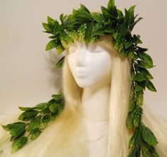 Ive been So Inspired by the Vintage French Wedding Crowns of the Late 1800s. Also the Headpieces of the Royals of the past, and Im not alone...Game of Thrones, Reign, The Tudors....   Welcome all you Beer Loving Kings or Queens in a Grand Oktoberfest Style! This Wreath is also very much like the Crowns worn by the Hawaiian Kings, Queens and people for Luau parties, Parades and celebrations!   This Beautiful Hops covered Vine Crown is 23 inches around. The Leaves on the Crown itself are 22…