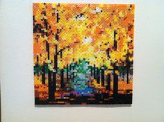 Fall Trees (Path to Wisdom by Leonid Afremov) perler beads Hanging Wall by SweetLolitas