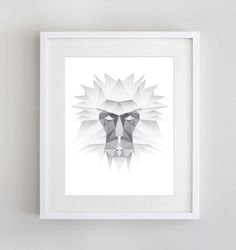 Silver Snow Monkey Polygon Animal Animal Print by SunberryGraphics