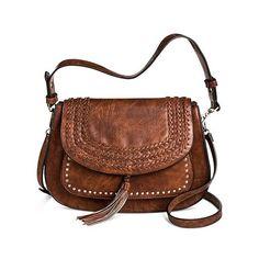 Antik Kraft Women's Western Saddle Messenger Handbag ($45) ❤ liked on Polyvore featuring bags, brown, western bags, messenger bags, print messenger bag, pattern bag and brown bag