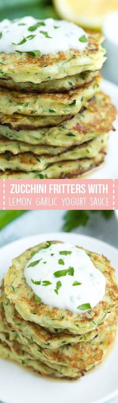 Parmesan Zucchini Fritters With Lemon Garlic Yogurt Sauce Are A Fun And Easy Appetizer That Is Made In Less Than 25 Minutes Chobani Easyhomemeals Healthy Side Dishes, Vegetable Side Dishes, Side Dish Recipes, Vegetable Recipes, Healthy Snacks, Vegetarian Recipes, Cooking Recipes, Healthy Recipes, Healthy Yogurt
