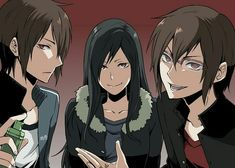 Izaya Orihara and the Orihara twins gender bend from Durarara
