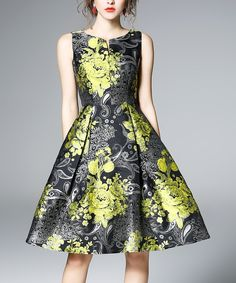 Take a look at this Black & Green Paisley Sleeveless Fit & Flare Dress today!