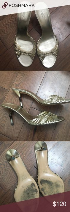 """AUTHENTIC GUCCI GOLD HEELS AUTHENTIC GUCCI GOLD HEELS. UNIQUE HEEL WITH BAMBOO. OVER A 2"""" HEEL. MADE IN ITALY. BRAIDED DESIGN. WORN A FEW TIMES Gucci Shoes Heels"""