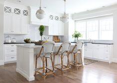 Serena and Lily Riviera Stools, Transitional, Kitchen, Benjamin Moore Simply White