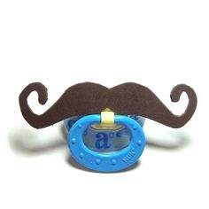 Brown Mustache pacifier 6 to 18 months by babestograndmas on Etsy, $8.00