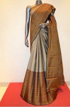 Grey Zari Checks Kanjeevaram Silk Saree            Product Code: AB203740                                                          #Silk #SilkSaree #Handloom #PureSilk #WeddingSaree #BridalSaree #Kanjivaram #Kancheepuram #Kanjeevaram #southindian