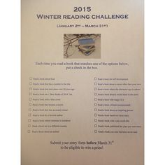 Winter Reading Challenge from the Headingley Library http://www.headingleylibrary.ca/index.php