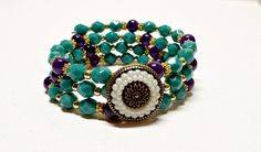 Bracelet Persian Turquoise Glass Beads by Willows3Creations