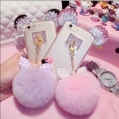 Super Cute Mickey pink  white ear bling cell case Super Cute Mickey pink…