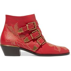 Chloé Susanna studded textured-leather ankle boots (4.055 BRL) ❤ liked on Polyvore featuring shoes, boots, ankle booties, red, block heel booties, studded boots, short boots, ankle boots and zipper ankle boots