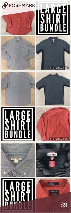 Men's Large Shirt Bundle- 3 items This is a Bundle of 3 Men's shirts sized Large! This is a great bundle for a reseller or the average joe!  Merona Blue Seersucker LS shirt, size L- great condition Antigua Black/Gray Golf Polo shirt, size L- great condition Nautical Orange LS shirt, size 16- 34/35- great condition  2B, 7B, 9B Nautica Shirts
