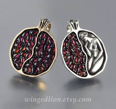 These are beautiful.  POMEGRANATE silver and bronze garnet pendant Ready by WingedLion