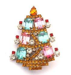 Strassbrosche Weihnachtsbaum/Christbaum/Christbäumchen, Czech Rhinestone Christmas Tree Pin: