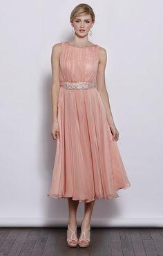 3ad508198403 Sleeveless round neck chiffon tea length bridesmaid dress-I wish I had a special  wedding to wear this to, purdy!