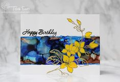 rainbow in november: Birthday card with alcohol ink background