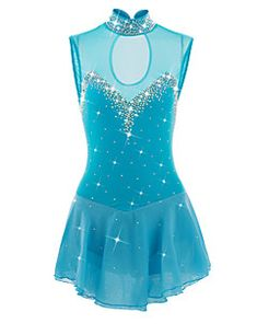 Figure+Skating+Dress+Women's+Girls'+Ice+Skating+Dress+LightBlue+Spandex+Athletic+Skating+Wear+Handmade+Jeweled+Rhinestone+Sleeveless+–+USD+$+225.98