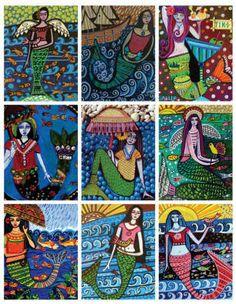 MERMAID ACEO CARDS - Atc Set of 9 Card Prints of Mermaid Paintings - Mexican Folk Art Mermaid - Wedding Gifts