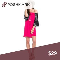 🔥ITS HERE🔥 Fuchsia Off-the-shoulder dress🔥HOT🔥 Off the shoulder bell sleeve dress. Can be worn EITHER on or off shoulder to change up your look. So cute with high boots - leggings too. 🔥100% made in USA! ❤ 95% polyester 5% spandex Dresses Mini