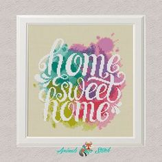 Modern Cross stitch pattern Home sweet home Watercolor Rainbow cross stitch Counted cross stitch Embroidery Hoop Art Easy cross stitch Modern Cross Stitch Patterns, Counted Cross Stitch Patterns, Cross Stitch Designs, Bead Patterns, Cross Stitch Heart, Simple Cross Stitch, Easy Cross, Embroidery Hoop Art, Cross Stitch Embroidery
