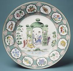 Chinese export plate with figures in arbor. Design attributed to Cornelis Pronk (Dutch, Amsterdam 1691–1759) Date: ca. 1740  Medium: Hard-paste porcelain painted with colored enamels over transparent glaze
