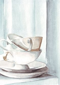 Original watercolor painting midnight white blush tea by HelgaMcL