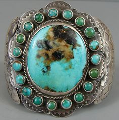 Early vintage Navajo turquoise cuff bracelet