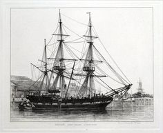 BARQUE FREE TRADER LONDON DOCKS Drawn and Etched by E W Cooke Published London 1829 in Cooke s Sixty Five Plates of Shipping and Craft A fine antique