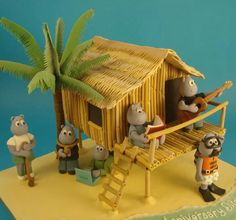Beach house fondant cake