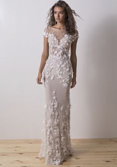 Dimitrius Dalia | Floral Embellished Tattoo-Effect Wedding Dress | Designer Bridal Room