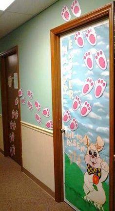 Photo 9 2 Pâques décoration de porte de classe lapin - Ma Folie Des Fêtes