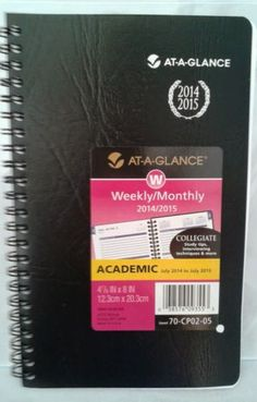 $5! BLACK At A Glance Weekly Monthly Collegiate Academic Planner 5 x 8 in Business & Industrial | eBay