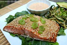 Sesame Crusted Salmon - Actually amazing. I didn't use this many sesame seeds, and the mayo was not needed at all. Just seared the salmon and covered it in the simmered marinade. Salmon Recipes, Fish Recipes, Seafood Recipes, Whole Food Recipes, Cooking Recipes, Healthy Recipes, Paleo Food, Paleo Ideas, Whole30 Recipes