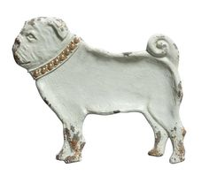 Pug shaped pewter decorative dish from White Owl & Company. This distressed white metal Pug dish is a must have for pug lovers!  See it at www.whiteowlcompany.com/mans-best-friend-home-decor-collection/
