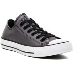 Converse Chuck Taylor Color Shift Leather Oxford Sneaker (Women) ($50) ❤ liked on Polyvore featuring shoes, sneakers, black, converse oxford, lace up oxfords, leather oxford shoes, converse sneakers and black leather oxfords