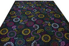 Black Suzani Kantha Quilt In Queen Size Queen by HandicraftsVilla