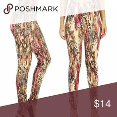 Animal Print Cotton Blend Leggings Plus Size Beautiful print!  Animal print in a great color combo of Fuschia and brown.  Very silky and so comfortable! Pants Leggings