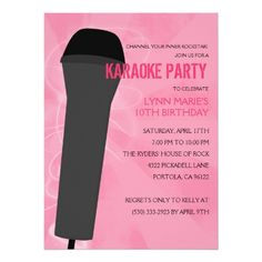 Pink Rock Out Karaoke Birthday Party Card
