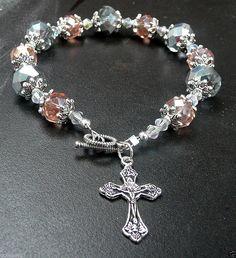 Genuine Pink/Silver AB Swarovski Crystal Antique Silver Rosary Bracelet