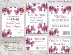 Wedding suite INSTANT DOWNLOAD   Editable Templates   Cosmos Flower   Wedding Invite, rsvp, save the date, invite   Cosmos Collection PDF by AmazingGraceDesignZA on Etsy Printable Invitations, Invites, Printables, Purple Wedding Invitations, Wedding Suite, Cosmos, Save The Date, Thank You Cards, Rsvp