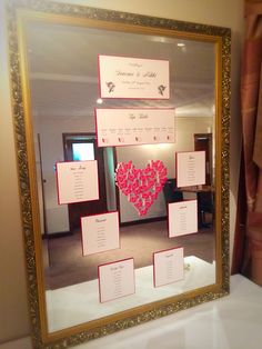 Red pearl butterfly heart feature sets this off perfectly! By Made Marvellous Mirror Table Plan, Table Plans, Wedding Table, Butterfly, Pearl, How To Plan, Frame, Red, Design