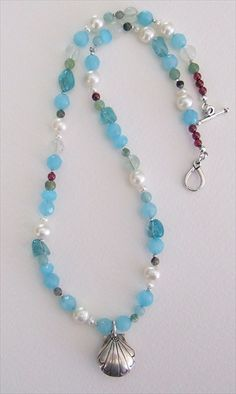 handmade amazonite and pearl necklace  handmade-beaded-gemstone-jewelry.com/  #handmade #jewelry #necklace