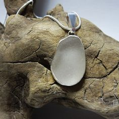 Frosted White Sea Glass Bezel Set Necklace by SilverandSeaJewelry