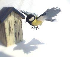 Great tit in flight - textile and needle felt bird