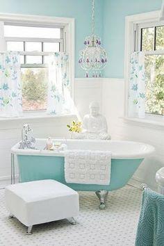 tiffany blue bathroom - I would add pops of red
